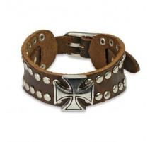 Bracelet homme cuir marron croix celtique
