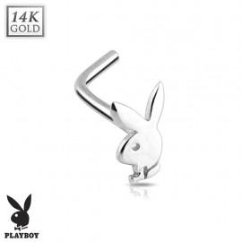 Piercing nez Playboy Or blanc 14K