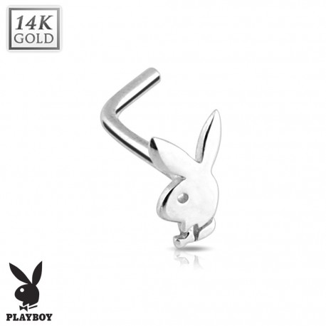 Piercing nez Playboy Or blanc 14K
