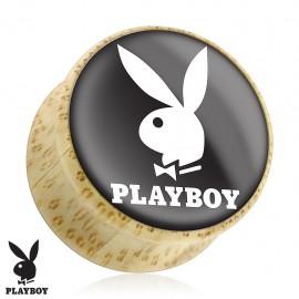 Piercing plug bois Playboy logo blanc