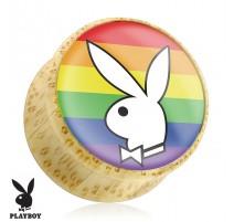 Piercing plug bois Playboy rainbow
