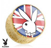 Piercing plug bois Playboy drapeau UK