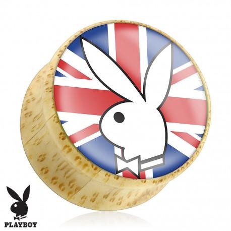 Piercing plug bois Playboy drapeau UK