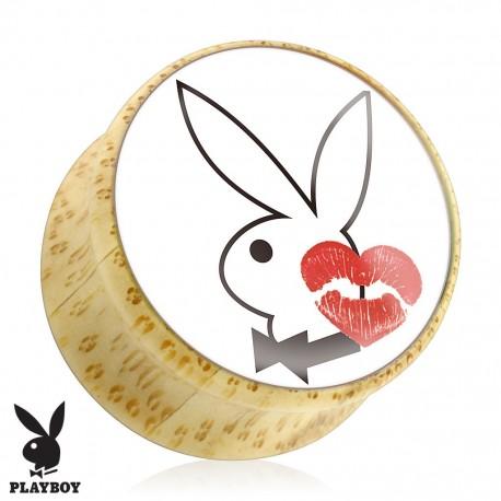 Piercing plug bois Playboy lèvres rouges