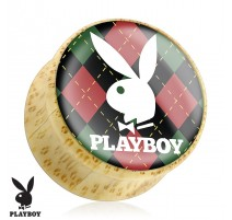 Piercing plug bois Playboy argyle