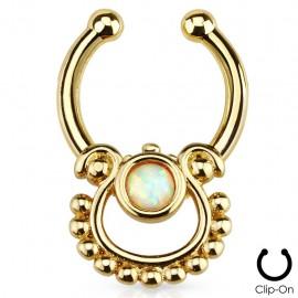 Faux piercing septum doré opale