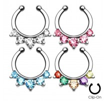 Faux piercing septum 5 strass
