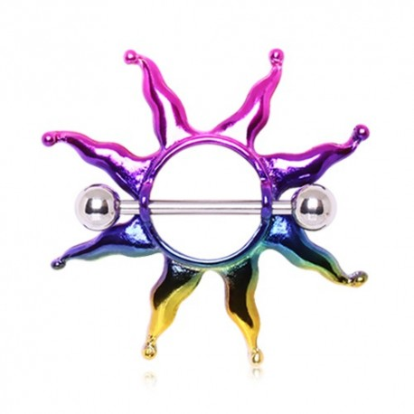 Piercing Téton Bouclier Soleil Rainbow