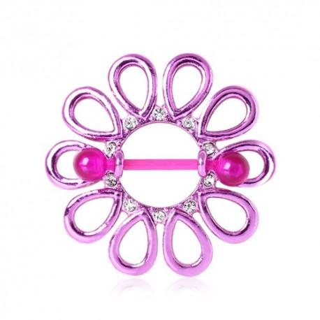 Piercing Téton Bouclier Fleur Violette