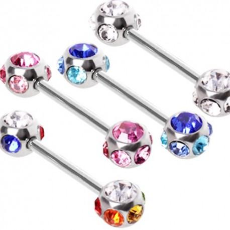 Piercing téton multi gemmes