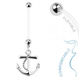 Piercing nombril de grossesse ancre marine