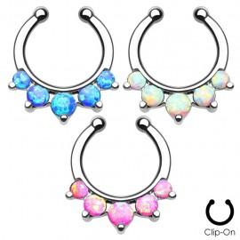 Faux piercing septum 5 opales
