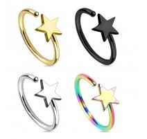 Piercing nez anneau titanium étoile