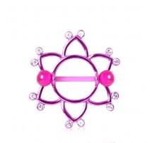 Piercing Téton Bouclier Floral Violet
