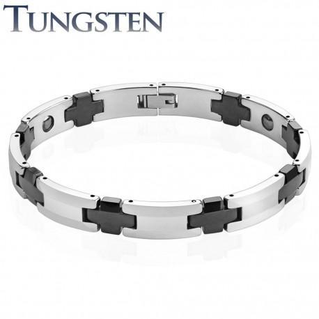 Bracelet homme tungstène liens croix noires