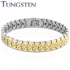 Bracelet homme tungstène doré damiers
