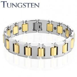 Bracelet homme tungstène cylindres dorés