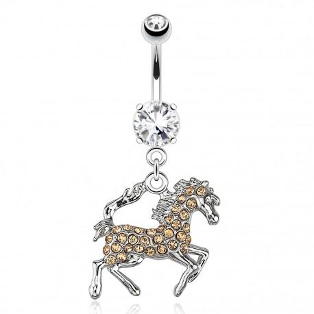 Piercing nombril cheval aurore boréale