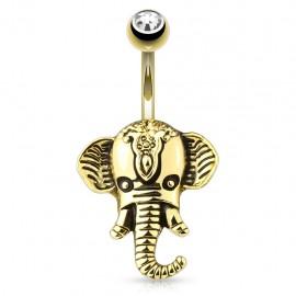 Piercing nombril plaqué or éléphant