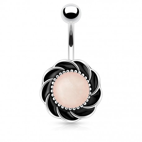 Piercing nombril fleur pierre quartz rose