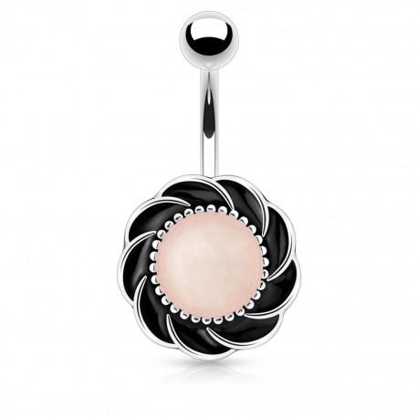 Piercing nombril fleur pierre quartz rose