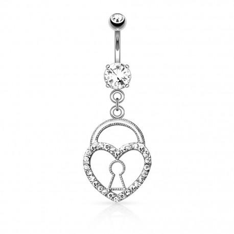 Piercing nombril cadenas coeur