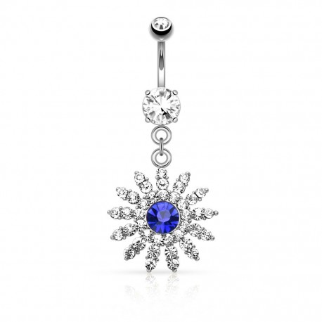 Piercing nombril fleur gemme bleu