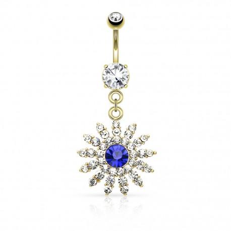 Piercing nombril plaqué or fleur gemme bleu