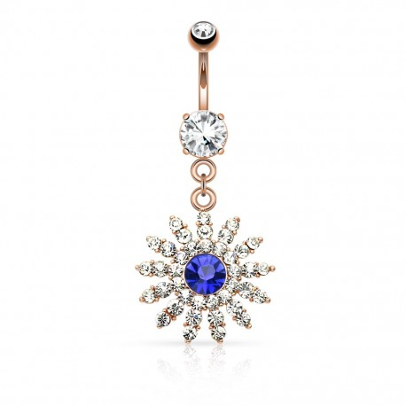 Piercing nombril or rosé fleur gemme bleu