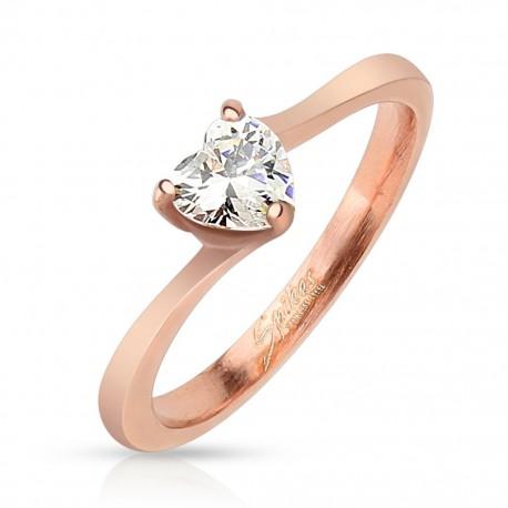Bague femme coeur acier or rosé