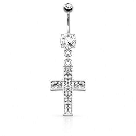 Piercing nombril croix pavée strass