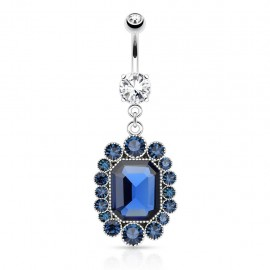 Piercing nombril pierre ovale bleue