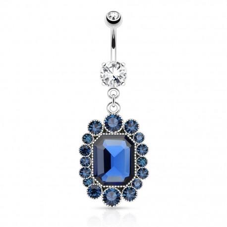 Piercing nombril pierre ovale bleue