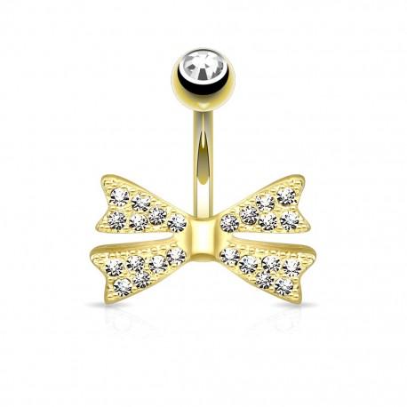 Piercing nombril plaqué or noeud gemmes