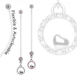 Piercing nombril de grossesse coeur cercle