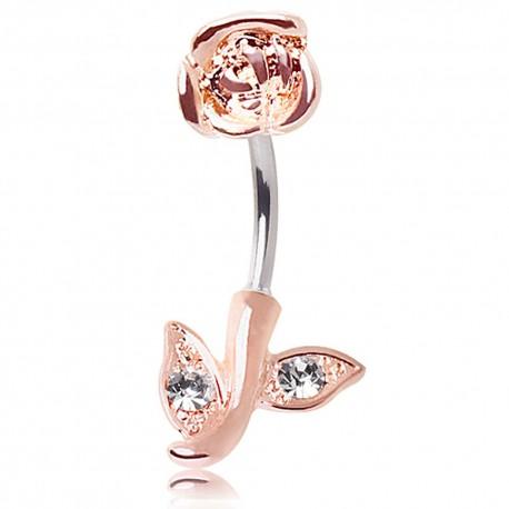 Piercing nombril inversé rose