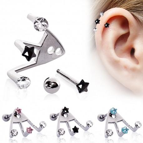 Piercing cartilage trident étoile