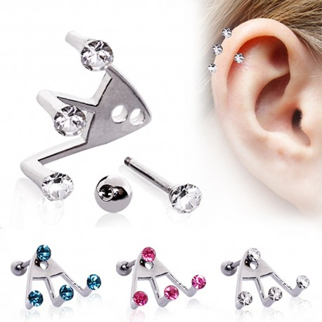 Piercing cartilage trident strass