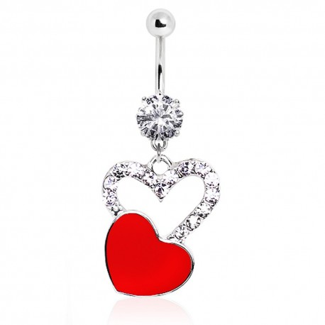 Piercing nombril coeur rouge