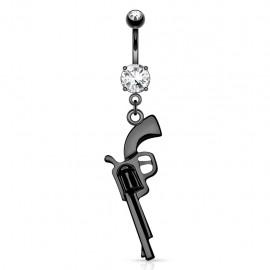 Piercing nombril pistolet acier noir