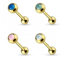 Piercing langue doré opale