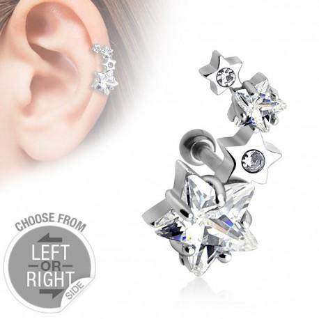 Piercing oreille gauche quatre étoiles