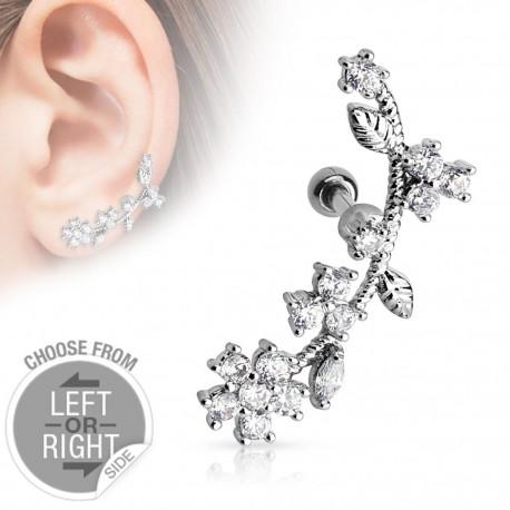 Piercing cartilage fleurs de vigne oreille gauche