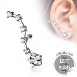 Piercing cartilage étoile strass