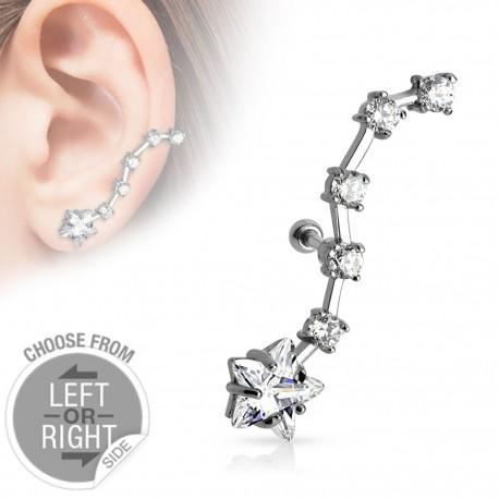 Piercing cartilage étoile strass oreille gauche