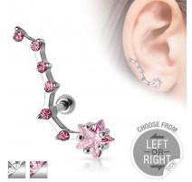 Piercing cartilage étoile 6 strass