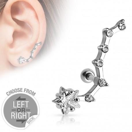 Piercing cartilage étoile 6 strass oreille gauche