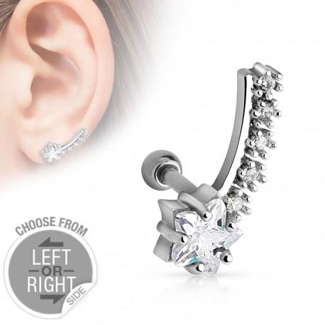 Piercing cartilage étoile filante oreille gauche