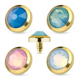 Piercing microdermal doré opale