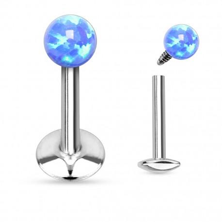 Piercing lèvre opale bleu